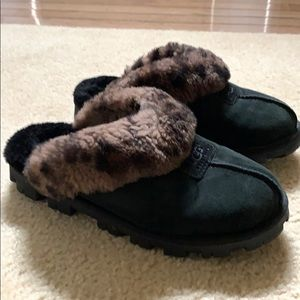 NEW Ugg 'leopard trim' Coquette slippers